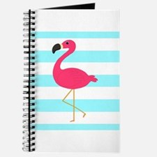 Pink Flamingo on Teal Stripes Journal