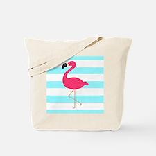 Pink Flamingo on Teal Stripes Tote Bag
