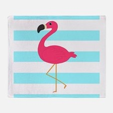 Pink Flamingo on Teal Stripes Throw Blanket