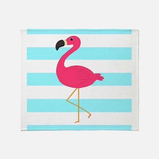 Pink Flamingo on Teal Stripes Throw Blanket