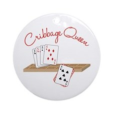 Cribbage Queen Ornament (Round)