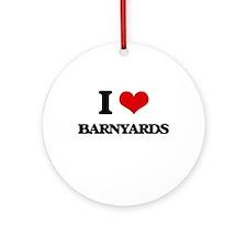I Love Barnyards Ornament (Round)