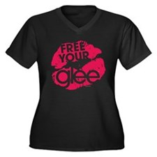 Glee Free Women's Plus Size V-Neck Dark T-Shirt
