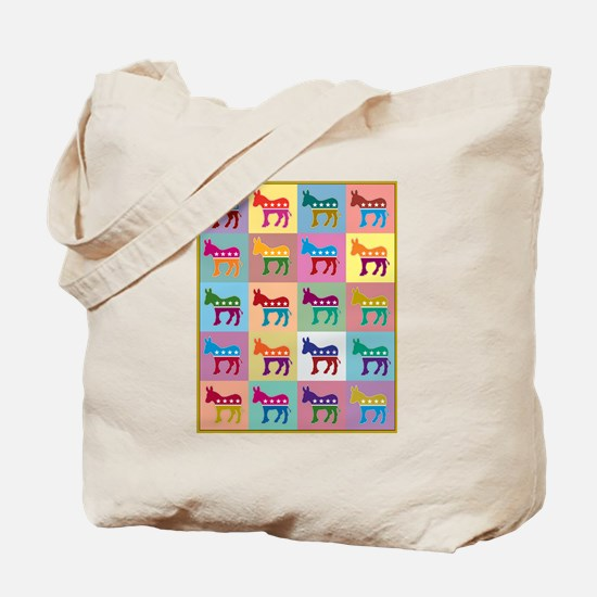 Pop Art Democrat Donkey Logo Tote Bag