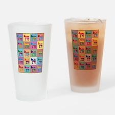 Pop Art Democrat Donkey Logo Drinking Glass