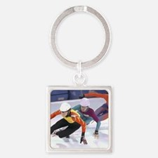 Cute Ice skate Square Keychain