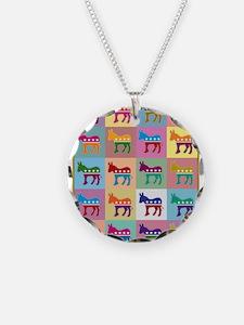 Pop Art Democrat Donkey Logo Necklace