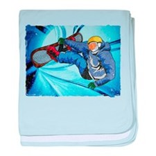 Snowboarder in Edgy Snow Storm baby blanket