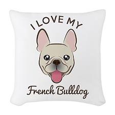 I Love My French Bulldog Woven Throw Pillow