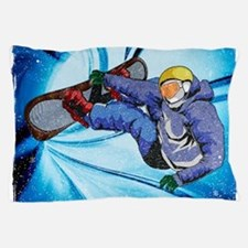 Snowboarder in Edgy Snow Storm Pillow Case