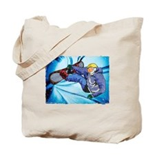 Snowboarder in Edgy Snow Storm Tote Bag