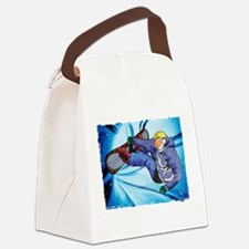 Snowboarder in Edgy Snow Storm Canvas Lunch Bag