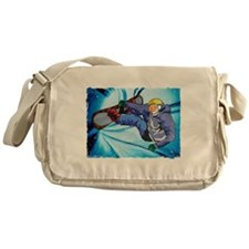 Snowboarder in Edgy Snow Storm Messenger Bag