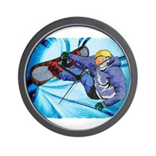 Snowboarder in Edgy Snow Storm Wall Clock