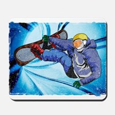 Snowboarder in Edgy Snow Storm Mousepad
