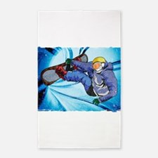 Snowboarder in Edgy Snow Storm Area Rug