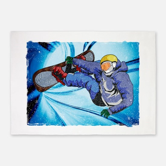 Snowboarder in Edgy Snow Storm 5'x7'Area Rug