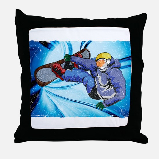 Snowboarder in Edgy Snow Storm Throw Pillow