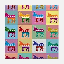Pop Art Democrat Donkey Logo Tile Coaster