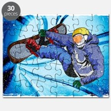 Snowboarder in Edgy Snow Storm Puzzle