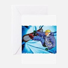 Snowboarder in Edgy Snow Storm Greeting Cards