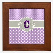 Purple Gray Dots Quatrefoil Personalized Framed Ti
