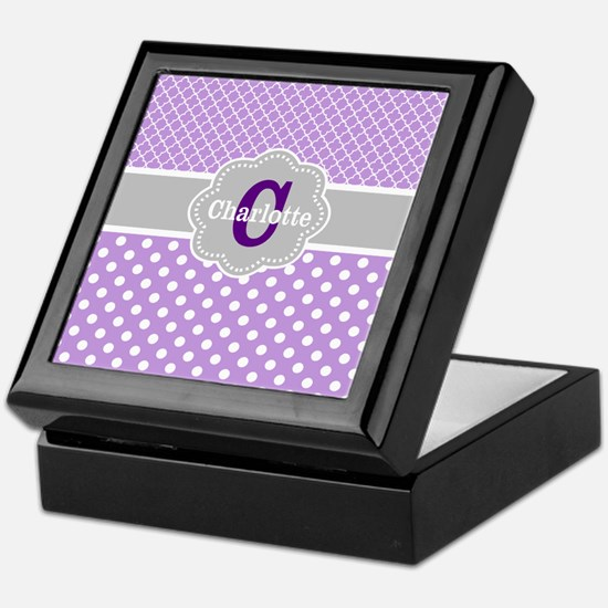 Purple Gray Dots Quatrefoil Personalized Keepsake