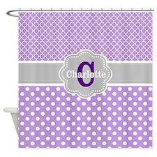 Purple Gray Dots Quatrefoil Personalized Shower Cu