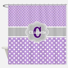 Purple Gray Dots Quatrefoil Personalized Shower Cu