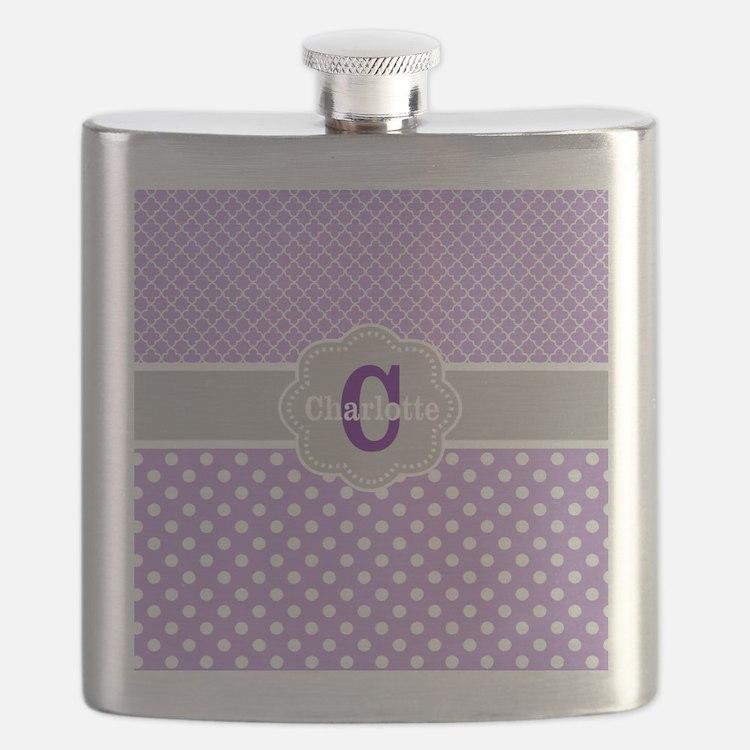 Purple Gray Dots Quatrefoil Personalized Flask