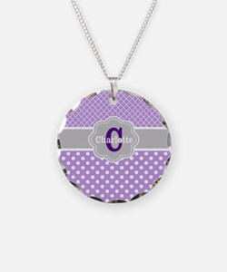 Purple Gray Dots Quatrefoil Personalized Necklace