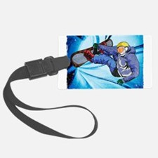 Snowboarder in Edgy Snow Storm Luggage Tag