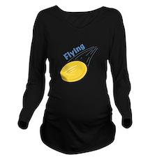 Flying Frisbee Long Sleeve Maternity T-Shirt
