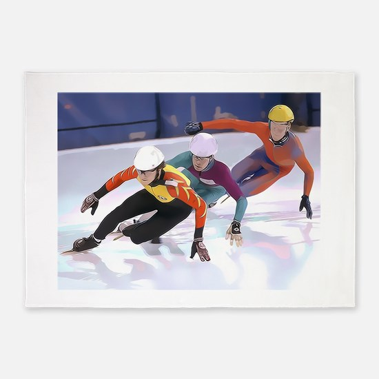 Short Track Speed Skaters 5'x7'Area Rug