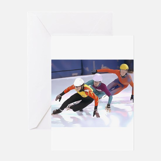 Short Track Speed Skaters Greeting Cards