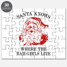 Santa Knows Where The Bad Girls Live Puzzle
