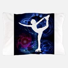 Figure Skater on Technicolor Ice Pillow Case