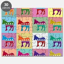 Pop Art Democrat Donkey Logo Puzzle