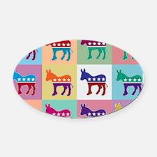 Pop Art Democrat Donkey Logo Oval Car Magnet