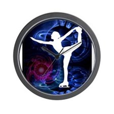 Figure Skater on Technicolor Ice Wall Clock