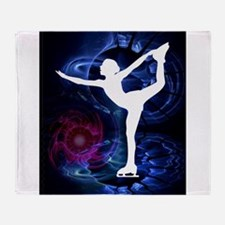 Figure Skater on Technicolor Ice Throw Blanket