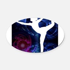 Figure Skater on Technicolor Ice Oval Car Magnet
