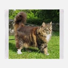 norwegian forest cat full tabby Throw Blanket