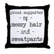 Messy Hair & Sweats Throw Pillow