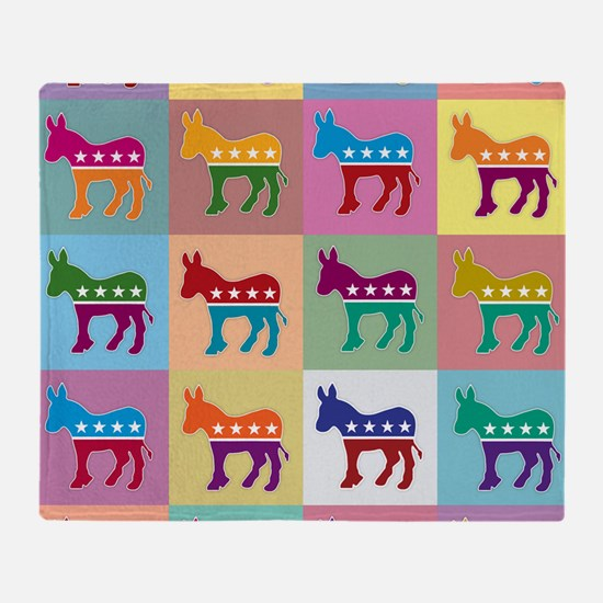 Pop Art Democrat Donkey Logo Throw Blanket