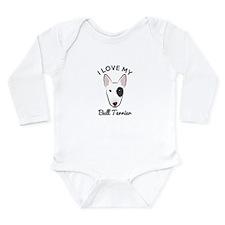 I Love My Bull Terrier Long Sleeve Infant Bodysuit