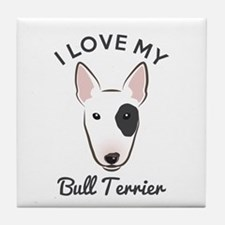 I Love My Bull Terrier Tile Coaster