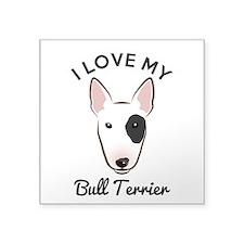 "I Love My Bull Terrier Square Sticker 3"" x 3"""