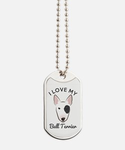I Love My Bull Terrier Dog Tags