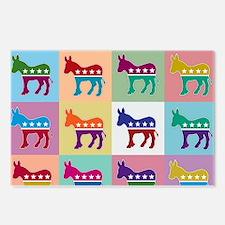 Pop Art Democrat Donkey L Postcards (Package of 8)